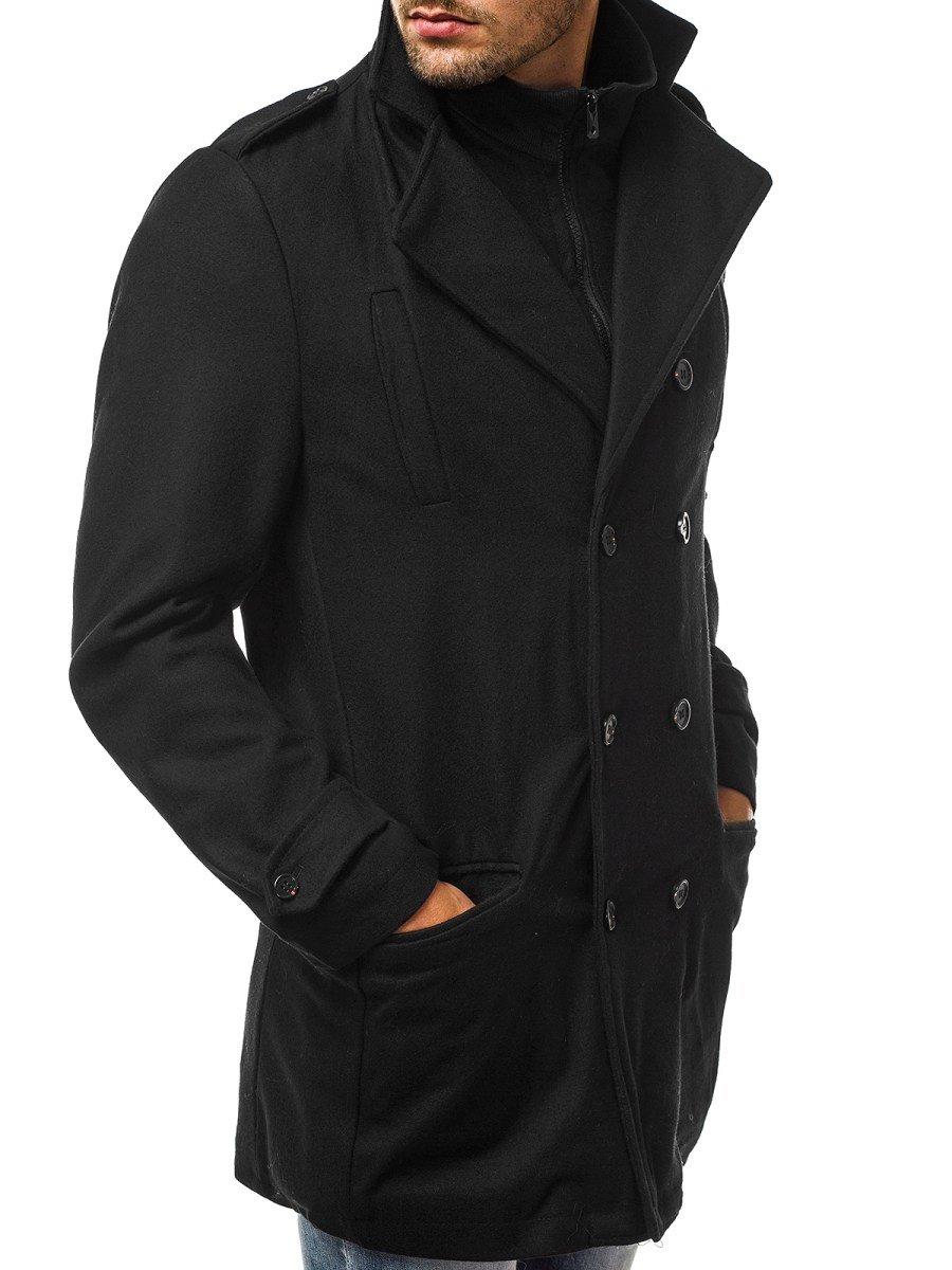 cb3d9ac95 OZONEE JS/NZ02 Pánsky kabát Čierny | OZONEE.SK